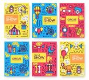 Σύνολο λεπτής έννοιας σχεδίων τσίρκων γραμμών Φεστιβάλ τέχνης, περιοδικό, βιβλίο, αφίσα, περίληψη, εμβλήματα, στοιχείο διάνυσμα Στοκ Εικόνα