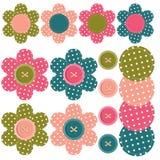 σύνολο λευκώματος αποκομμάτων λουλουδιών κουμπιών Στοκ φωτογραφίες με δικαίωμα ελεύθερης χρήσης