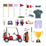 Σύνολο λογότυπου εικονιδίων εξοπλισμού γκολφ στο επίπεδο ύφος που απομονώνεται στο άσπρο υπόβαθρο Ενδύματα και εξαρτήματα για, αθ Στοκ φωτογραφία με δικαίωμα ελεύθερης χρήσης