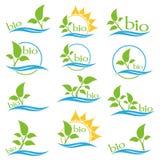 Σύνολο λογότυπου οικολογίας χρώματος Βιο σημάδι οικολογίας χρώματος Στοκ Φωτογραφίες
