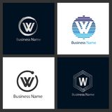 Σύνολο λογότυπων γραμμάτων W διανυσματική απεικόνιση