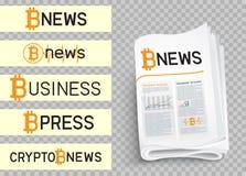 Σύνολο λογότυπων ειδήσεων Bitcoin Στοκ Εικόνες
