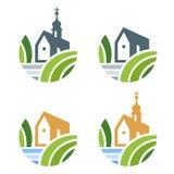 Σύνολο λογότυπων εκκλησιών ή ακίνητων περιουσιών απεικόνιση αποθεμάτων