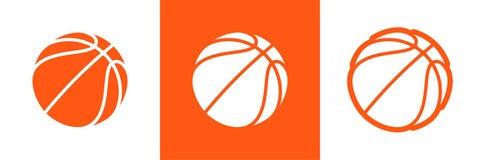 Σύνολο λογότυπων καλαθοσφαίρισης διανυσματικού εικονιδίου για τα πρωταθλήματα πρωταθλήματος streetball, το σχολείο ή την ένωση ομ διανυσματική απεικόνιση