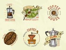 Σύνολο λογότυπων καφέ σύγχρονα εκλεκτής ποιότητας στοιχεία για τις επιλογές καταστημάτων επίσης corel σύρετε το διάνυσμα απεικόνι Στοκ Εικόνες