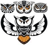 Σύνολο λογότυπων κουκουβαγιών Σχέδια εμβλημάτων ελεύθερη απεικόνιση δικαιώματος