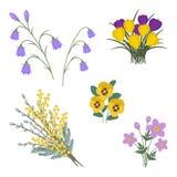 Σύνολο λουλουδιών άνοιξη σε ένα άσπρο υπόβαθρο διανυσματική απεικόνιση