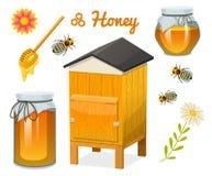 Σύνολο, μέλισσα και κυψέλη, κουτάλι και κηρήθρα, κυψέλη και μελισσουργείο μελιού Φυσικό αγροτικό προϊόν μελισσοκομία ή κήπος, λου Στοκ Φωτογραφίες
