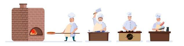 Σύνολο μαγειρέματος με τρεις αρχιμάγειρες διανυσματική απεικόνιση