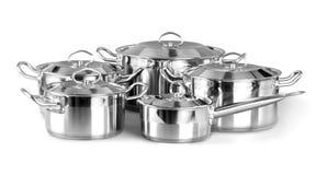 Σύνολο μαγειρεύοντας ασημένιων τηγανιών που απομονώνεται στο λευκό Στοκ φωτογραφία με δικαίωμα ελεύθερης χρήσης
