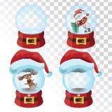 Σύνολο μαγικών σφαιρών Χριστουγέννων Μια συλλογή των σφαιρών γυαλιού με ένα καπέλο santa επίσης corel σύρετε το διάνυσμα απεικόνι Στοκ εικόνες με δικαίωμα ελεύθερης χρήσης