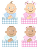 σύνολο μασκότ κοριτσιών αγοριών 3 μωρών διανυσματική απεικόνιση