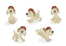σύνολο μασκότ σκυλιών κινούμενων σχεδίων απεικόνιση αποθεμάτων