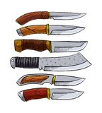 Σύνολο μαχαιριών κυνηγιού ελεύθερη απεικόνιση δικαιώματος