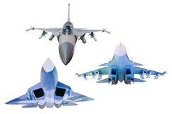 Σύνολο μαχητών στρατιωτικού αεροπλάνου που απομονώνεται στο άσπρο υπόβαθρο Στοκ φωτογραφίες με δικαίωμα ελεύθερης χρήσης