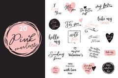 Σύνολο μαύρης, άσπρης και ρόδινης αγάπης που γράφει, για την αφίσα σχεδίου ημέρας βαλεντίνων, τη ευχετήρια κάρτα, λεύκωμα φωτογρα Στοκ φωτογραφία με δικαίωμα ελεύθερης χρήσης