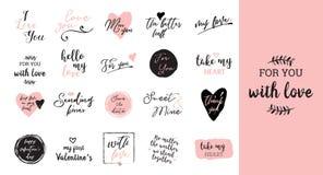 Σύνολο μαύρης, άσπρης και ρόδινης αγάπης που γράφει, για την αφίσα σχεδίου ημέρας βαλεντίνων, τη ευχετήρια κάρτα, λεύκωμα φωτογρα Στοκ Εικόνες