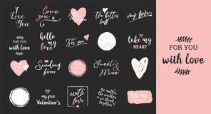 Σύνολο μαύρης, άσπρης και ρόδινης αγάπης που γράφει, για την αφίσα σχεδίου ημέρας βαλεντίνων, τη ευχετήρια κάρτα, λεύκωμα φωτογρα Στοκ Εικόνα