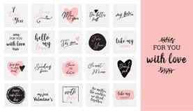 Σύνολο μαύρης, άσπρης και ρόδινης αγάπης που γράφει, για την αφίσα σχεδίου ημέρας βαλεντίνων, τη ευχετήρια κάρτα, λεύκωμα φωτογρα Στοκ Φωτογραφία