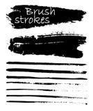 Σύνολο μαύρου χρώματος, κτυπήματα βουρτσών μελανιού, βούρτσες, γραμμές Στοκ Φωτογραφίες