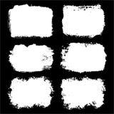 Σύνολο μαύρου χρώματος, κτυπήματα βουρτσών μελανιού, πλαίσια για το κείμενο Στοκ Εικόνες
