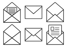 Σύνολο μαύρων εικονιδίων ταχυδρομείου επίσης corel σύρετε το διάνυσμα απεικόνισης απεικόνιση αποθεμάτων