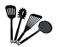 Σύνολο μαύρων πιάτων για το μαγείρεμα στοκ εικόνες