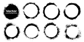 Σύνολο μαύρων προτύπων υποβάθρου grunge αφηρημένων Στοιχεία μελανιού χρωμάτων βουρτσών διαμορφωμένα γύρω από επίσης corel σύρετε  στοκ φωτογραφίες