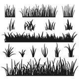Σύνολο μαύρων σκιαγραφιών χλόης που απομονώνεται στο άσπρο υπόβαθρο Στοιχεία σχεδίου υψών χλόης της φύσης Πρότυπο για απεικόνιση αποθεμάτων