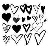 Σύνολο μαύρων συρμένων χέρι καρδιών στο άσπρο υπόβαθρο Σχέδιο Eleme ελεύθερη απεικόνιση δικαιώματος