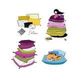 Σύνολο με τα μαξιλάρια Κλινοσκεπάσματα χρόνος ύπνου Στοκ Εικόνα