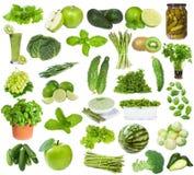Σύνολο με τα πράσινα τρόφιμα Στοκ Εικόνες