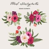 Σύνολο με τις ανθοδέσμες των λουλουδιών Στοκ Φωτογραφία
