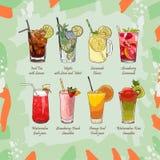Σύνολο μη οινοπνευματούχων θερινών ποτών Λεμονάδα κλασικών και φραουλών, παγωμένο τσάι, Mojito, καρπούζι και πορτοκάλι φρέσκες στοκ εικόνες με δικαίωμα ελεύθερης χρήσης