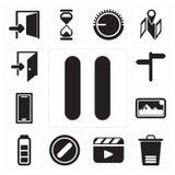 Σύνολο μικρής διακοπής, απορρίμματα, video, που απαγορεύουν, μπαταρία, φωτογραφίες, S διανυσματική απεικόνιση