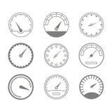 Σύνολο μονοχρωματικών εικονιδίων με τα ταχύμετρα Στοκ φωτογραφία με δικαίωμα ελεύθερης χρήσης