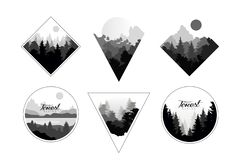Σύνολο μονοχρωματικών τοπίων στο γεωμετρικό κύκλο μορφών, τρίγωνο, ρόμβος Φυσικά τοπία με τα άγρια δάση πεύκων ελεύθερη απεικόνιση δικαιώματος
