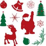 Σύνολο μορφών σκιαγραφιών Χριστουγέννων Στοκ φωτογραφίες με δικαίωμα ελεύθερης χρήσης