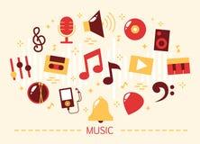 Σύνολο μουσικής Μουσικός εξοπλισμός και τα όργανα διανυσματική απεικόνιση