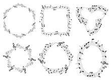 Σύνολο μουσικών διανυσματικών πλαισίων με τις σημειώσεις μουσικής διανυσματική απεικόνιση