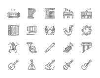 Σύνολο μουσικών εικονιδίων γραμμών οργάνων Πιάνο, ακκορντέον, βιολί, κιθάρα και περισσότεροι ελεύθερη απεικόνιση δικαιώματος