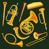 Σύνολο μουσικών οργάνων woodwind και ορείχαλκου Κλαρινέτο, σάλπιγγα, φυσαρμόνικα, ξύλινο sopilka σωλήνων, γαλλικό κέρατο, κυνήγι διανυσματική απεικόνιση