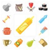 Σύνολο μουστάρδας, ψωμί, αχλάδι, μέλι, τσάι, παγωτό, δοχείο, νερό, Διανυσματική απεικόνιση
