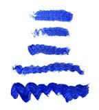 Σύνολο μπλε ακρυλικών brushstrokes Στοκ εικόνες με δικαίωμα ελεύθερης χρήσης