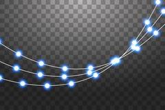 Σύνολο μπλε γιρλαντών, εορταστικές διακοσμήσεις Φω'τα Χριστουγέννων πυράκτωσης που απομονώνονται στο διαφανές υπόβαθρο blue light διανυσματική απεικόνιση