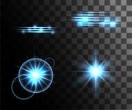 Σύνολο μπλε καμμένος ελαφριών δαχτυλιδιών ελαφριών αποτελεσμάτων με τη διακόσμηση μορίων που απομονώνονται στη διαφανή σελίδα ιστ Στοκ Εικόνες