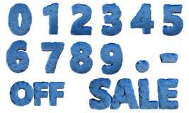 Σύνολο μπλε τριχωτών αριθμών και τρισδιάστατης απεικόνισης εμβλημάτων πώλησης διανυσματική απεικόνιση