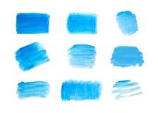 Σύνολο μπλε χρώματος χεριών, λωρίδες ορθογωνίων, κτυπήματα βουρτσών μελανιού, βούρτσες, γραμμές που απομονώνονται στο άσπρο υπόβα απεικόνιση αποθεμάτων