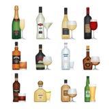 Σύνολο μπουκαλιού οινοπνεύματος με τα γυαλιά Ποτά και ποτά οινοπνεύματος Απεικόνιση αποθεμάτων