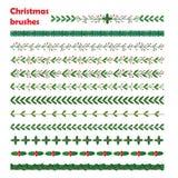 Σύνολο νέου έτους, συρμένα floral πλαίσια στεφανιών Χριστουγέννων doodle χέρι Στοκ φωτογραφία με δικαίωμα ελεύθερης χρήσης